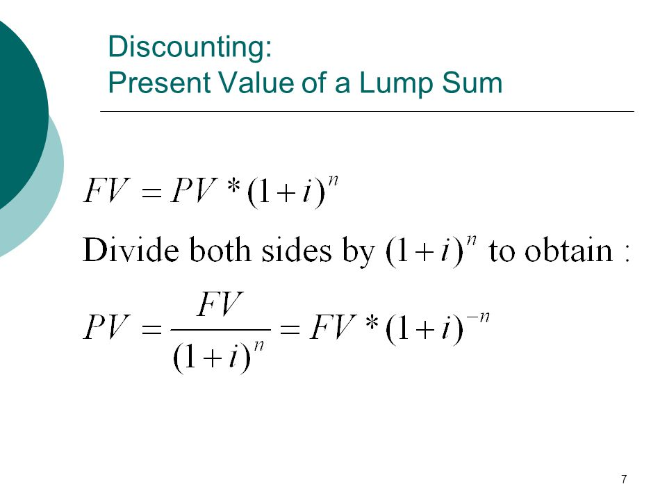 Discounting: Present Value of a Lump Sum