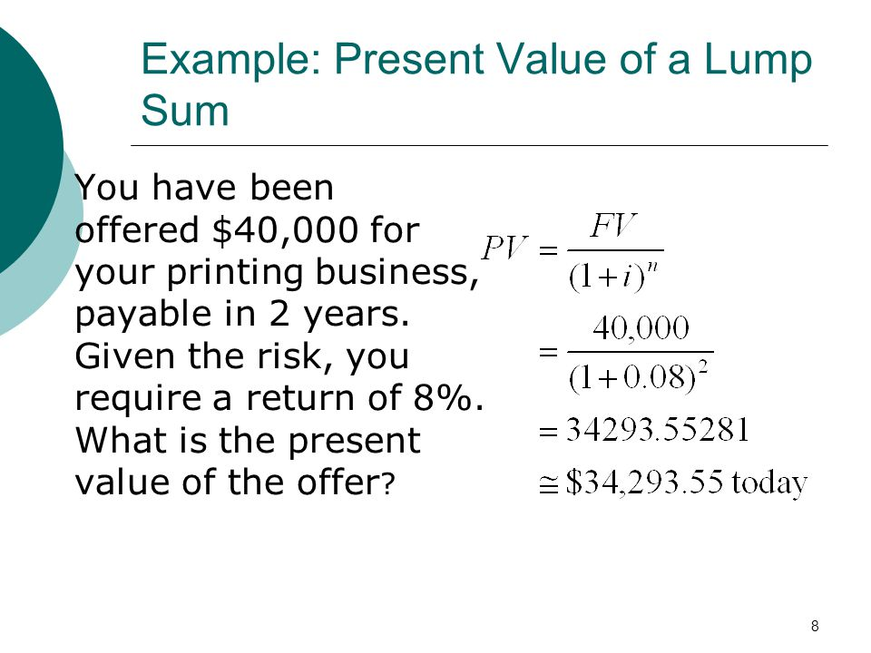 Example: Present Value of a Lump Sum
