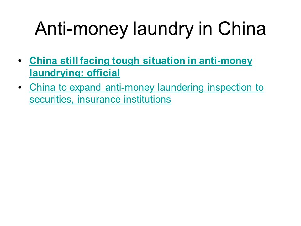 Anti-money laundry in China