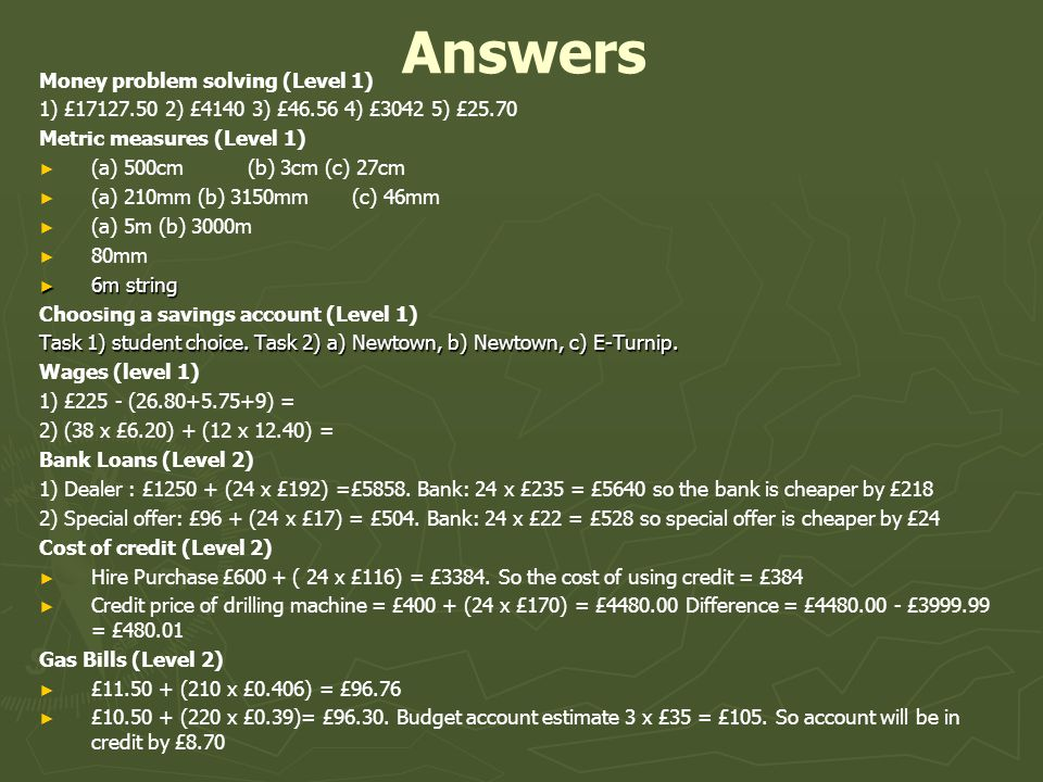 Answers Money problem solving (Level 1)