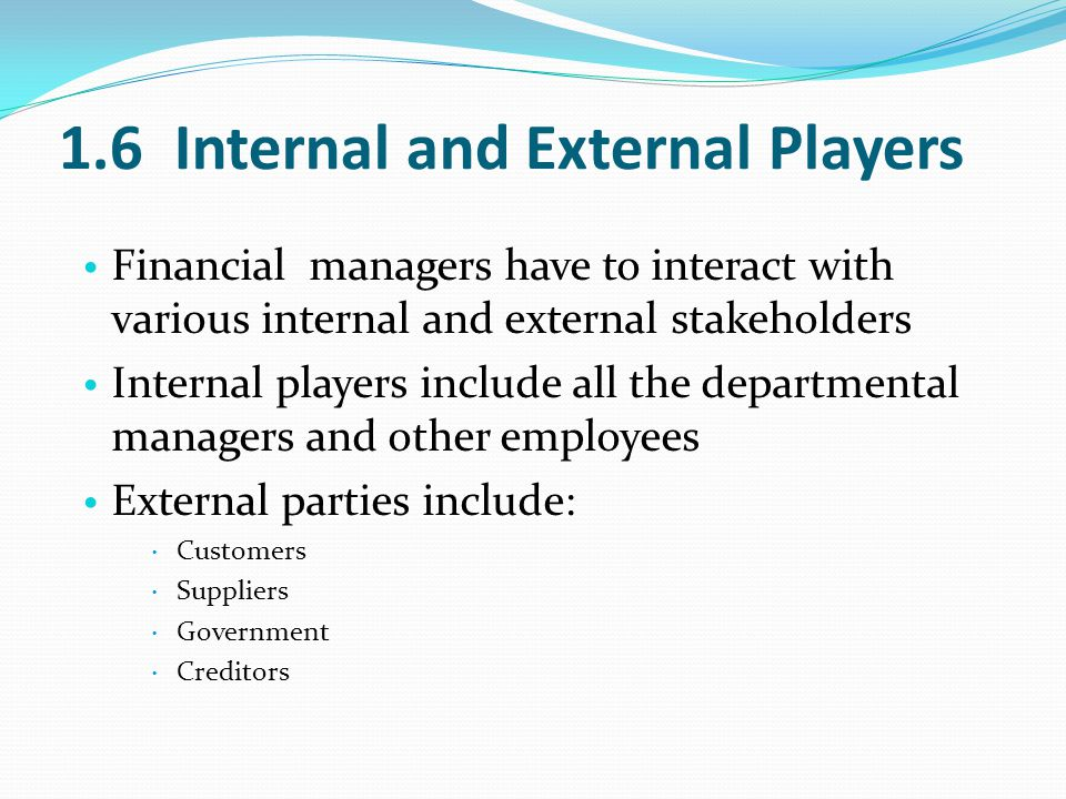 1.6 Internal and External Players