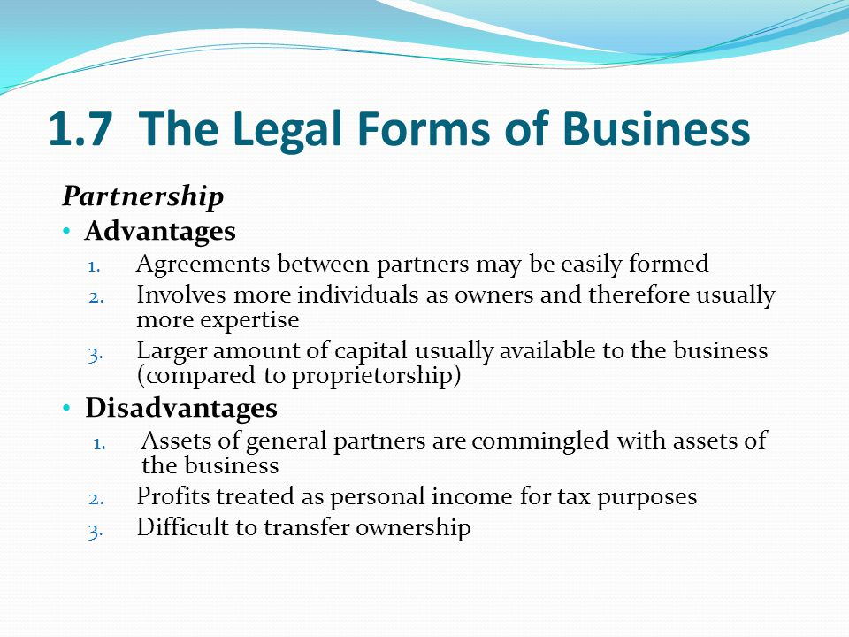 1.7 The Legal Forms of Business