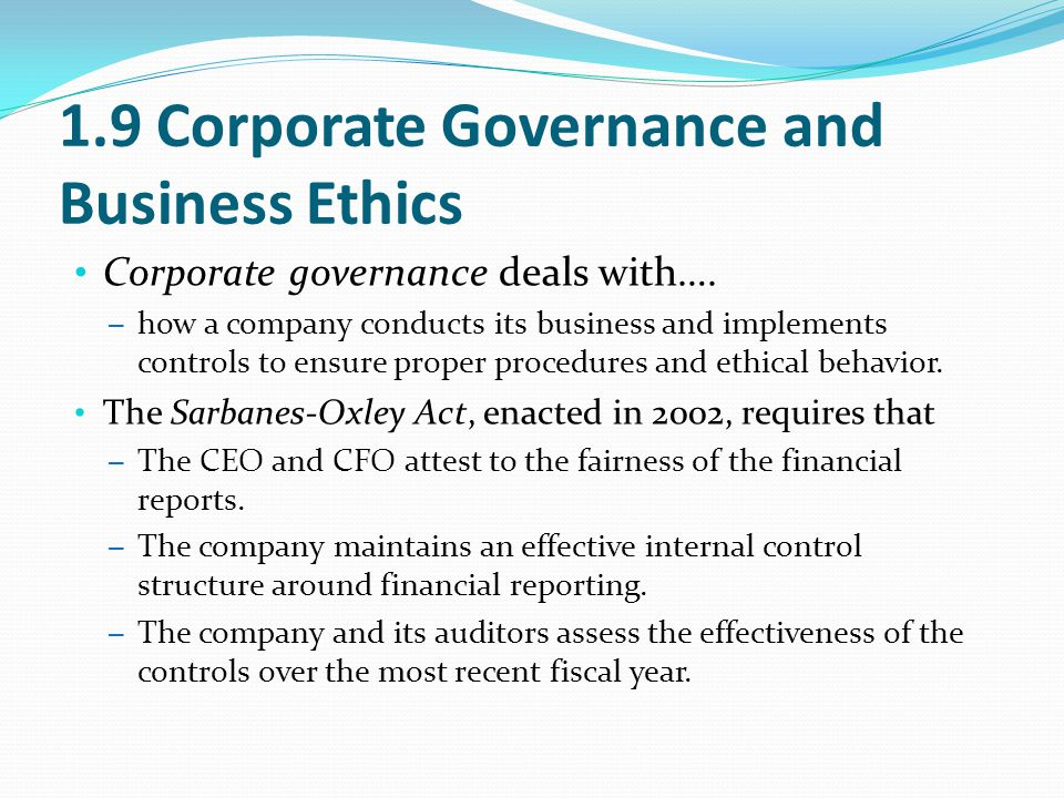 1.9 Corporate Governance and Business Ethics