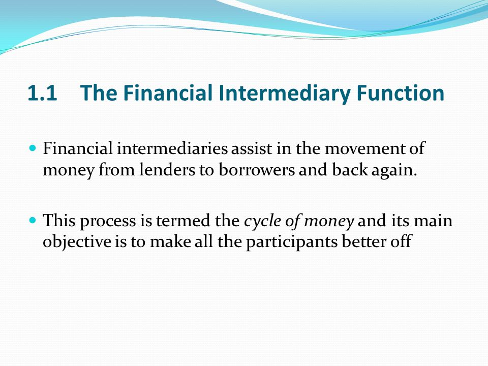 1.1 The Financial Intermediary Function