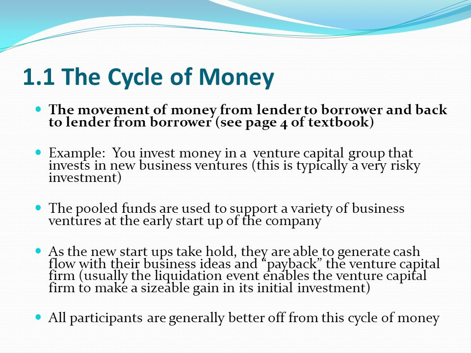 1.1 The Cycle of Money The movement of money from lender to borrower and back to lender from borrower (see page 4 of textbook)