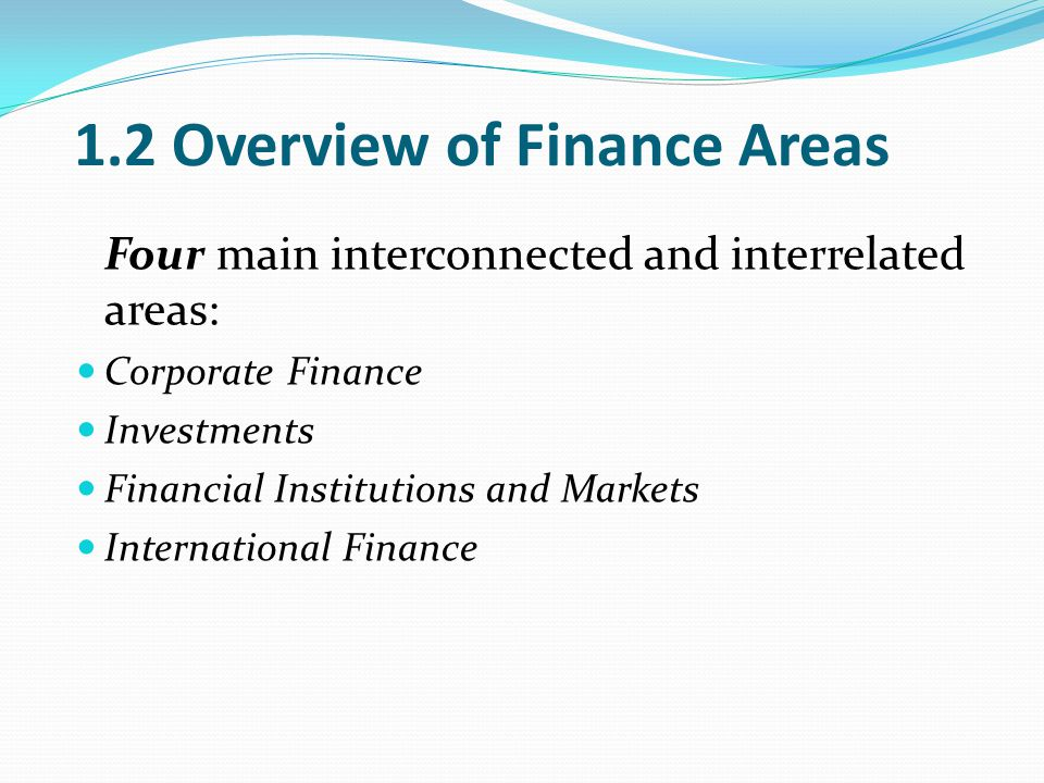 1.2 Overview of Finance Areas