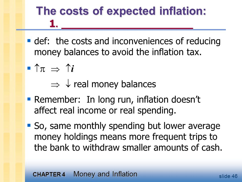 The costs of expected inflation: 2. ___________