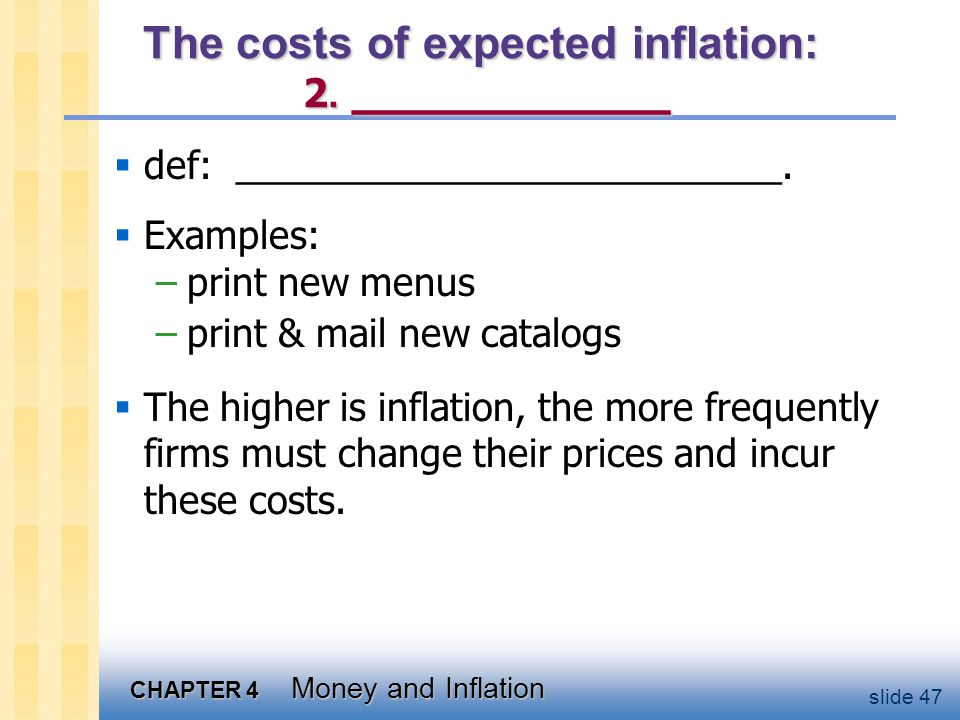 The costs of expected inflation: 3. __________________