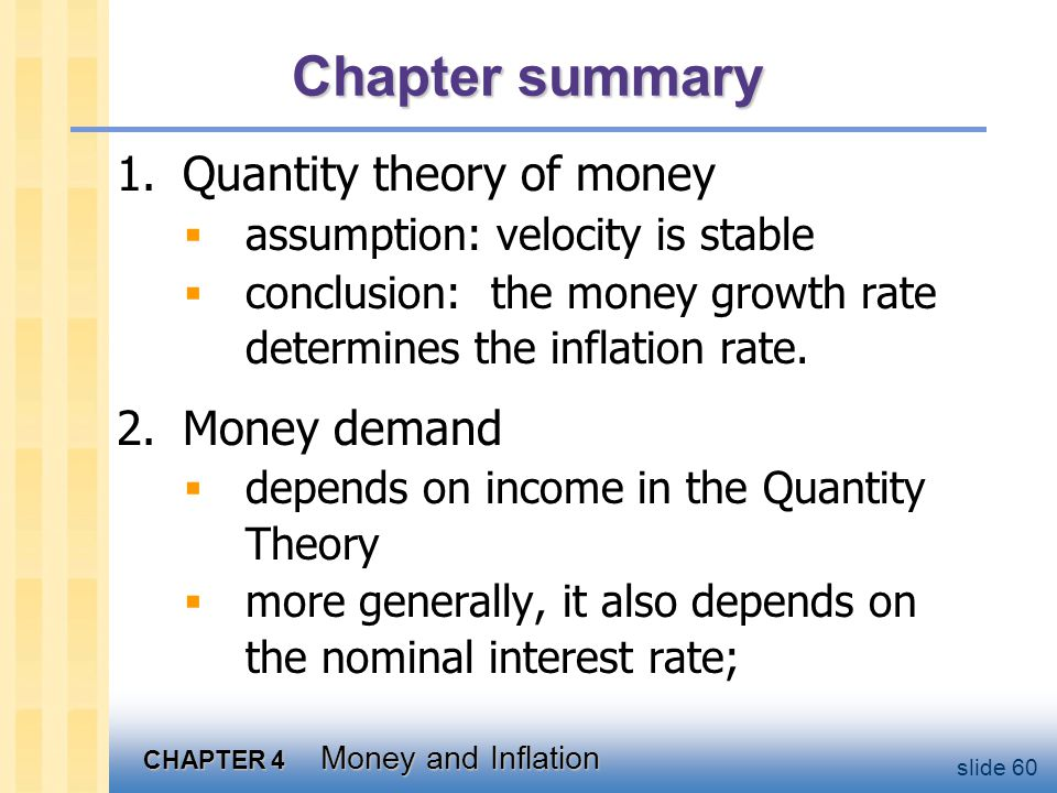 Chapter summary 3. Nominal interest rate 4. Hyperinflation