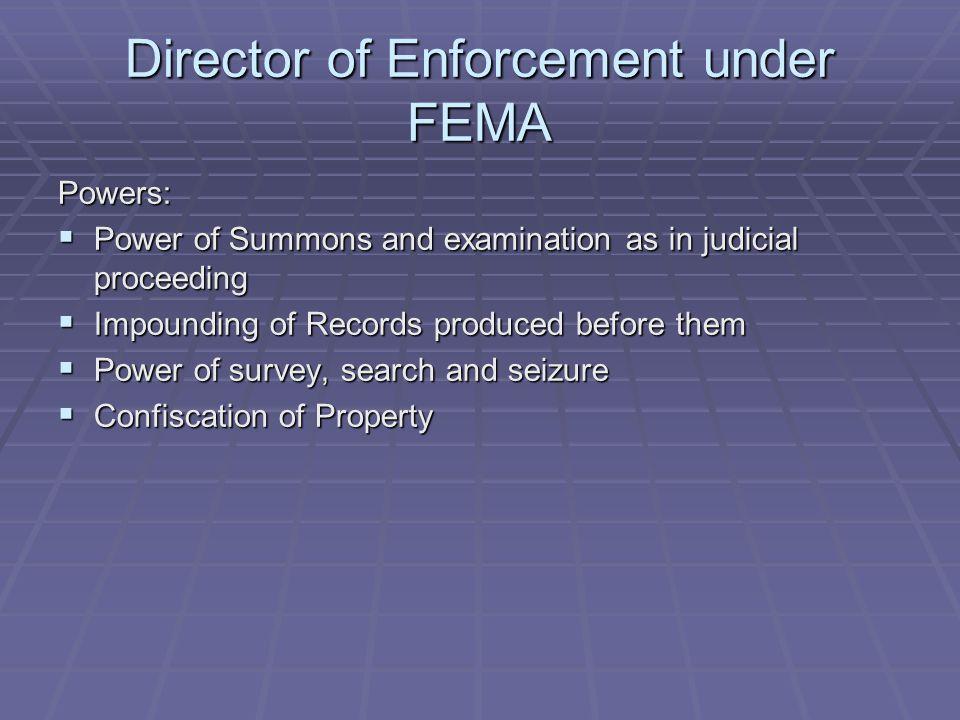 Director of Enforcement under FEMA