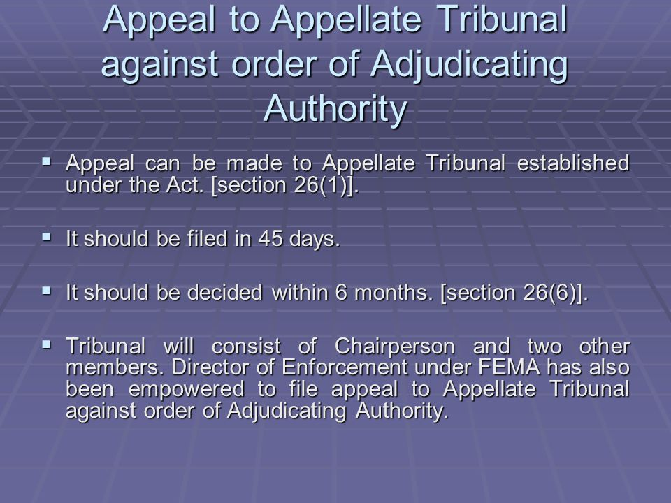 Appeal to Appellate Tribunal against order of Adjudicating Authority