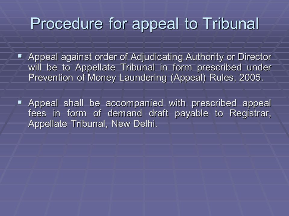 Procedure for appeal to Tribunal