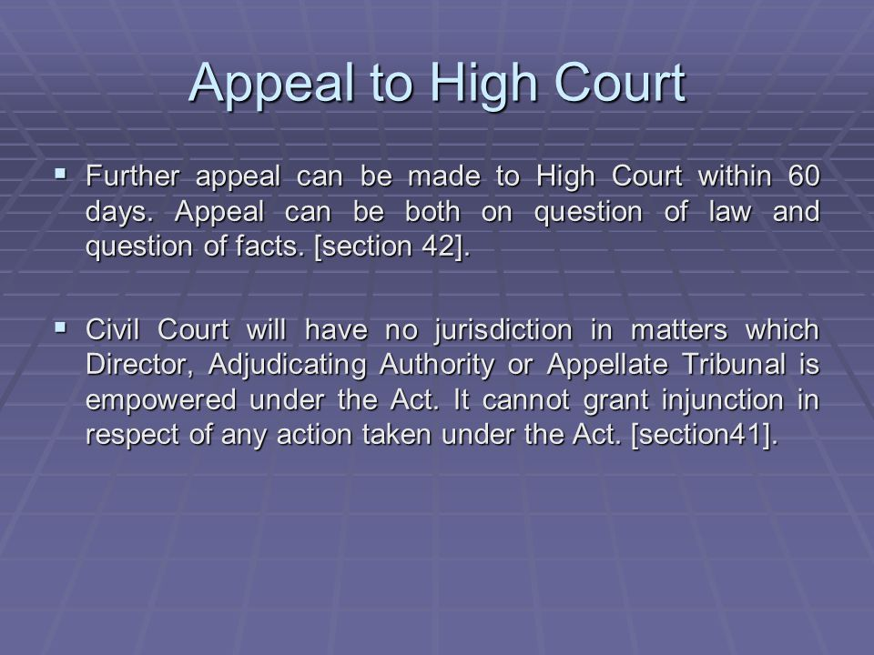 Appeal to High Court