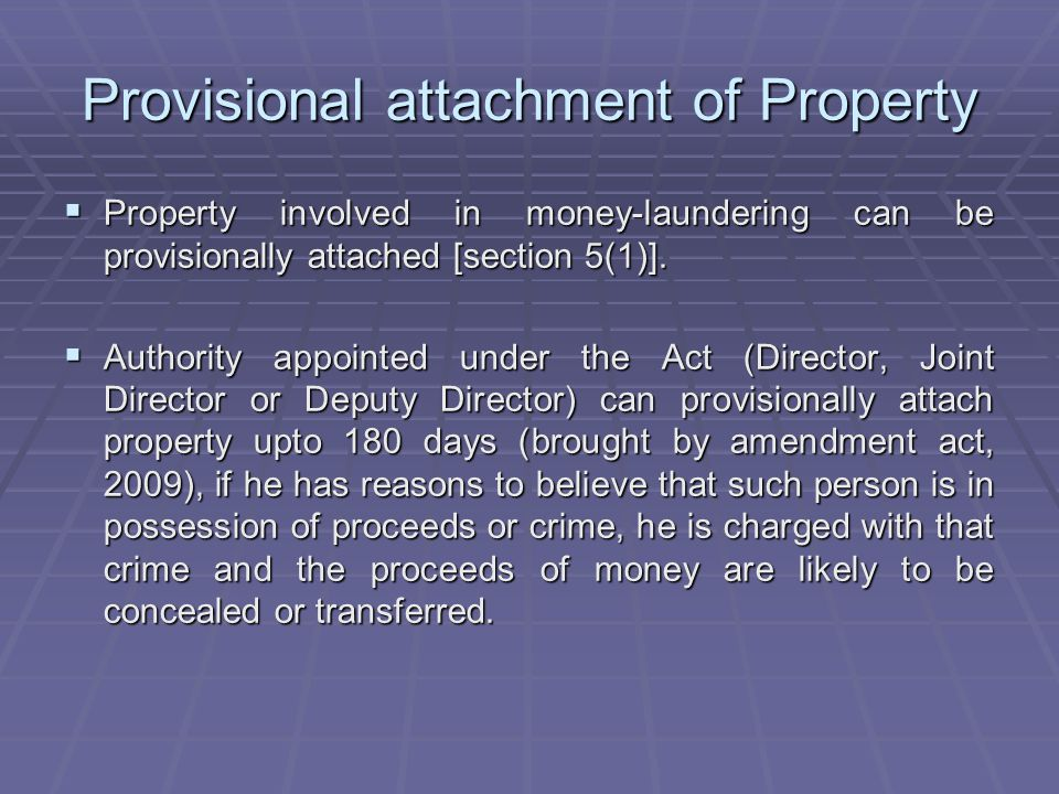 Provisional attachment of Property