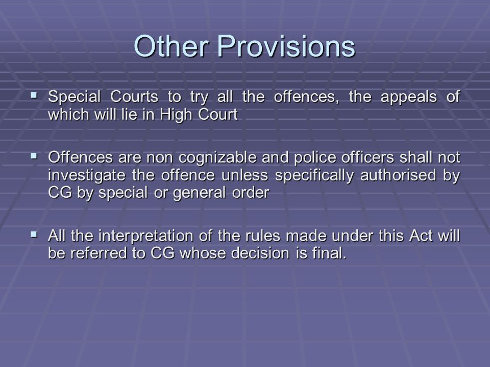 Other Provisions Special Courts to try all the offences, the appeals of which will lie in High Court.