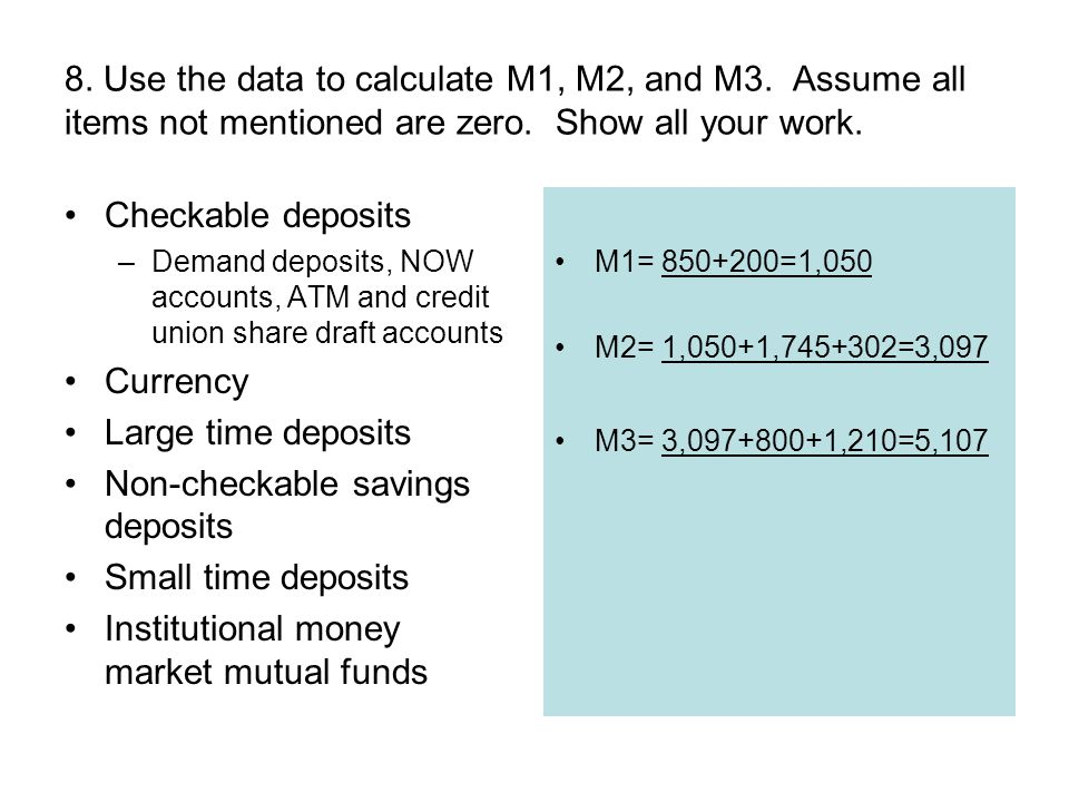 Non-checkable savings deposits Small time deposits
