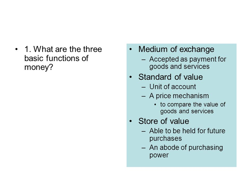 1. What are the three basic functions of money Medium of exchange