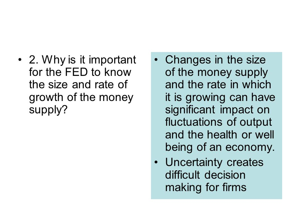 2. Why is it important for the FED to know the size and rate of growth of the money supply