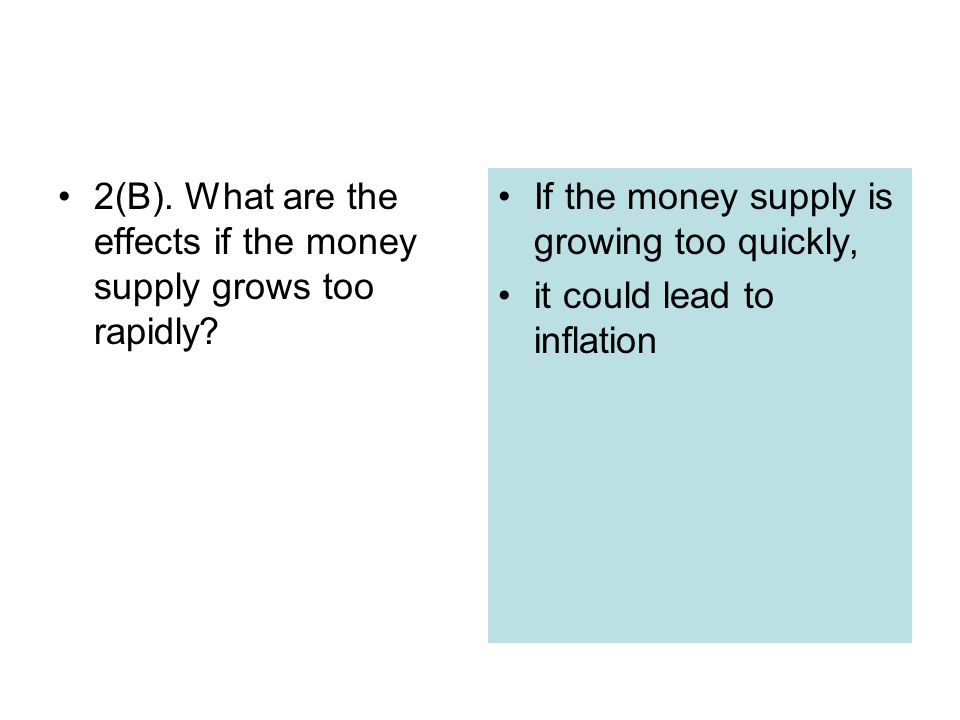 2(B). What are the effects if the money supply grows too rapidly