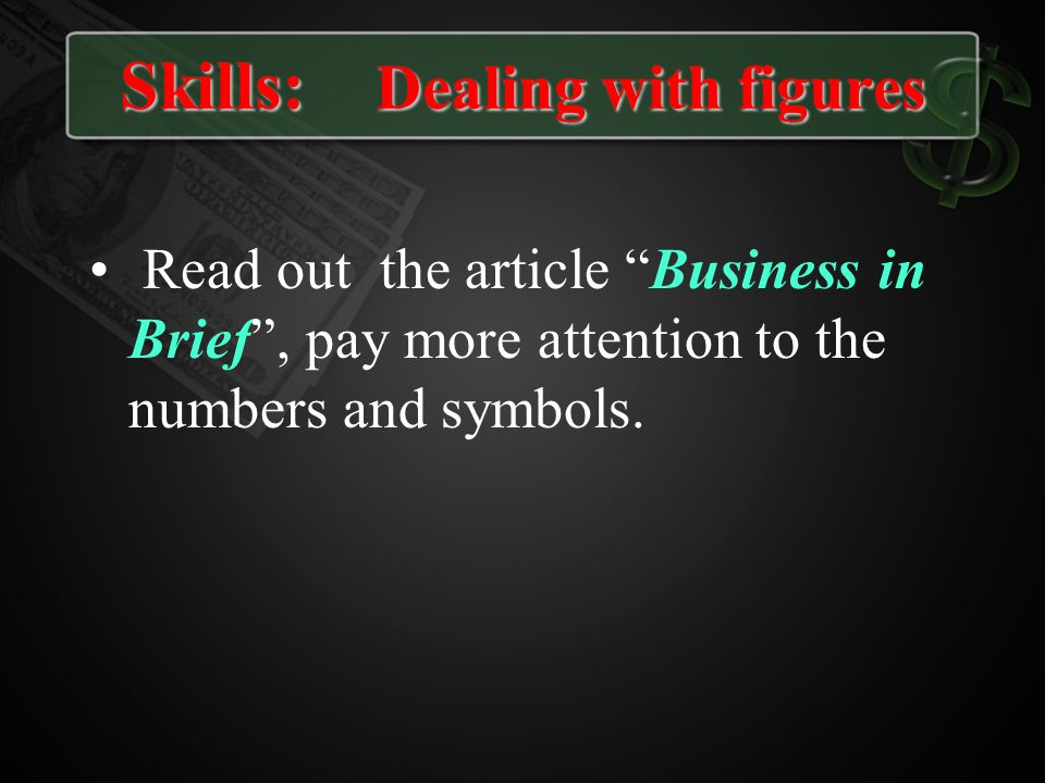 Skills: Dealing with figures