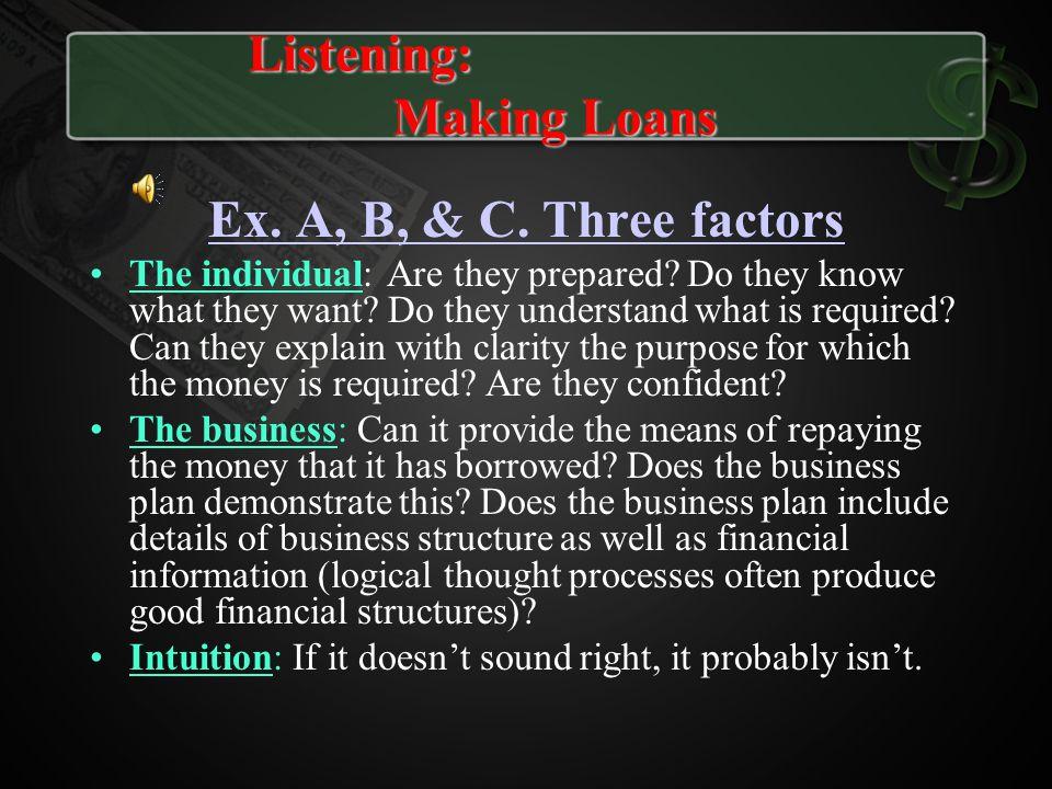 Listening: Making Loans