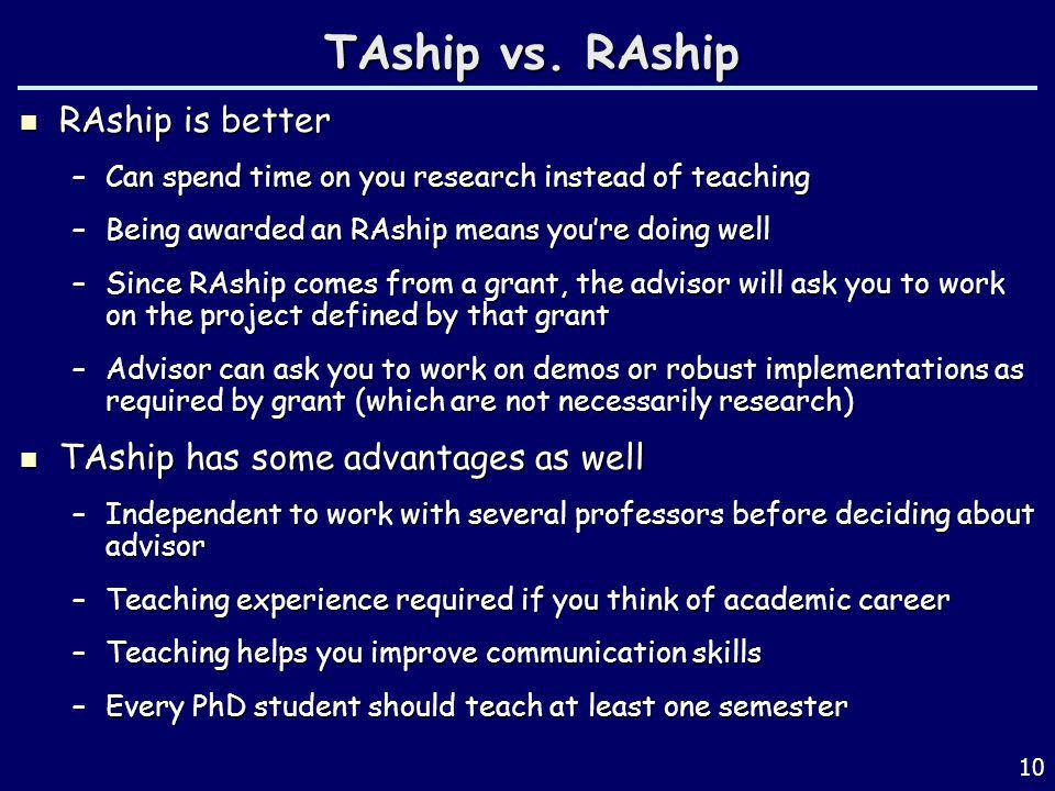 TAship vs. RAship RAship is better TAship has some advantages as well