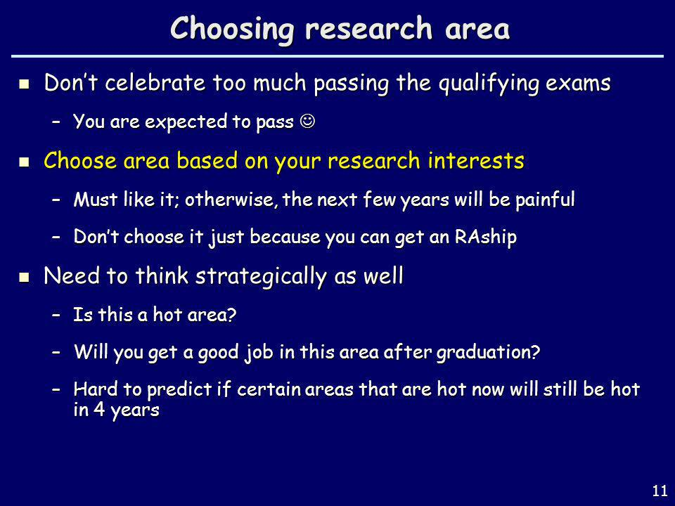Choosing research area