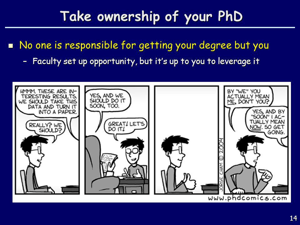 Take ownership of your PhD