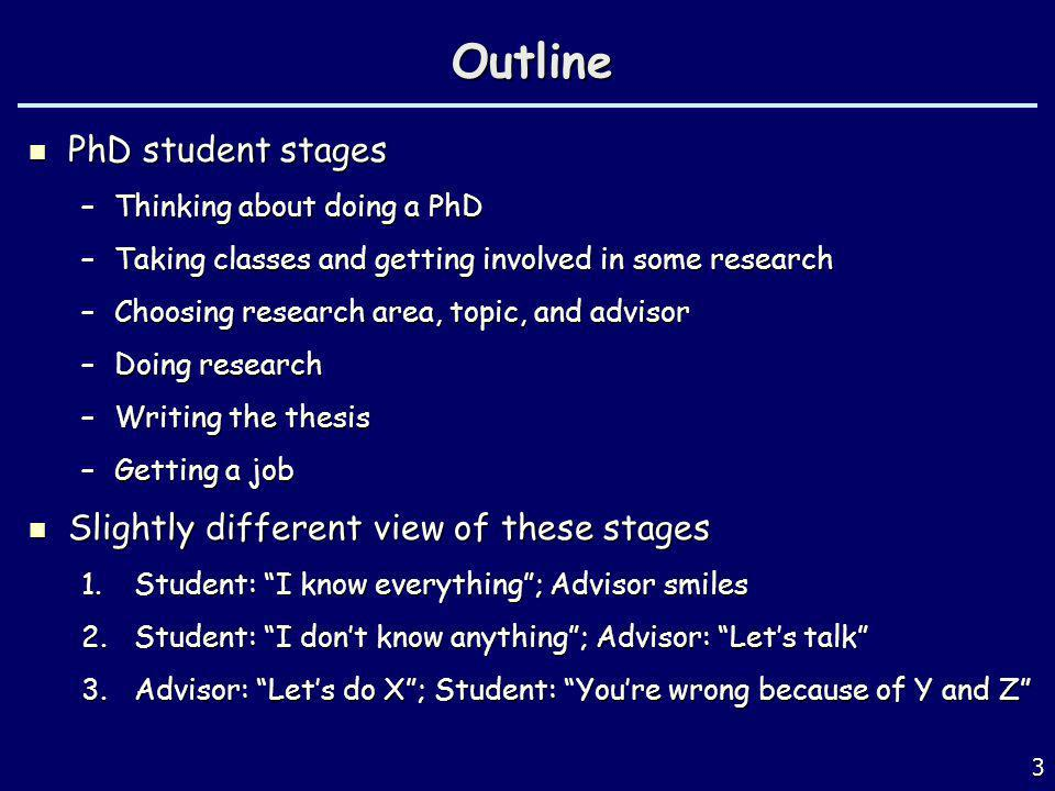 Outline PhD student stages Slightly different view of these stages