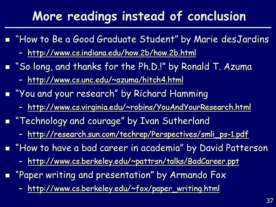 More readings instead of conclusion