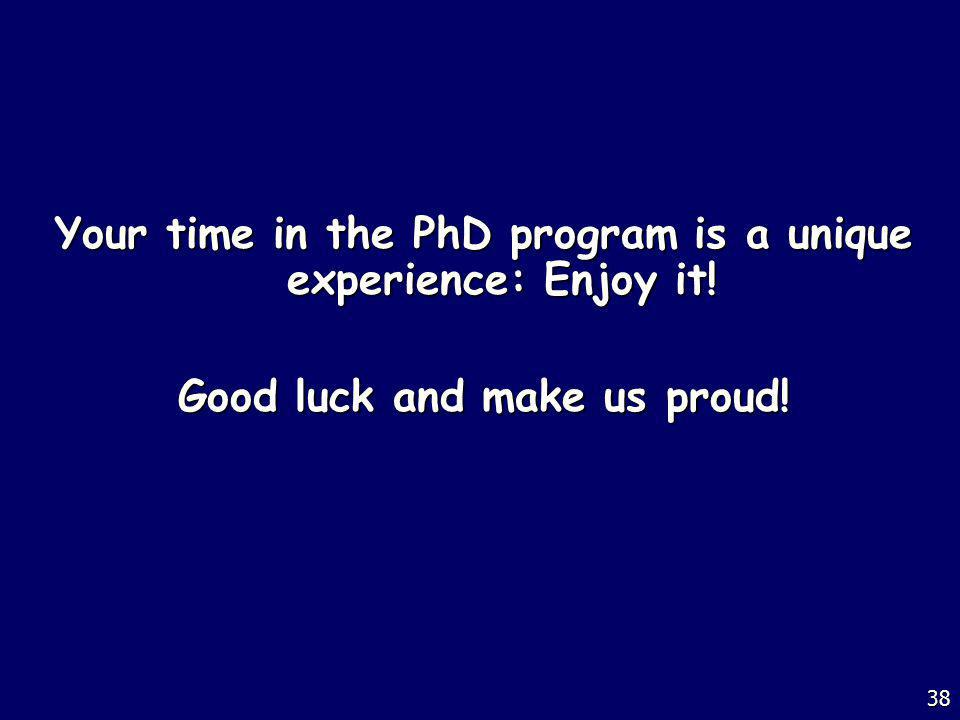 Your time in the PhD program is a unique experience: Enjoy it!