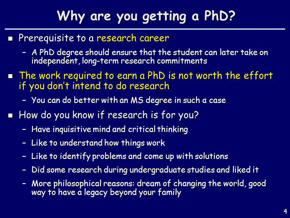 Why are you getting a PhD