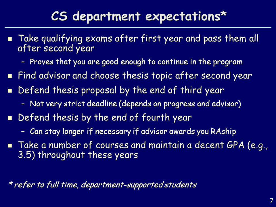 CS department expectations*