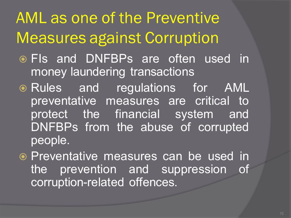 AML as one of the Preventive Measures against Corruption