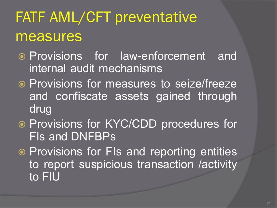 FATF AML/CFT preventative measures