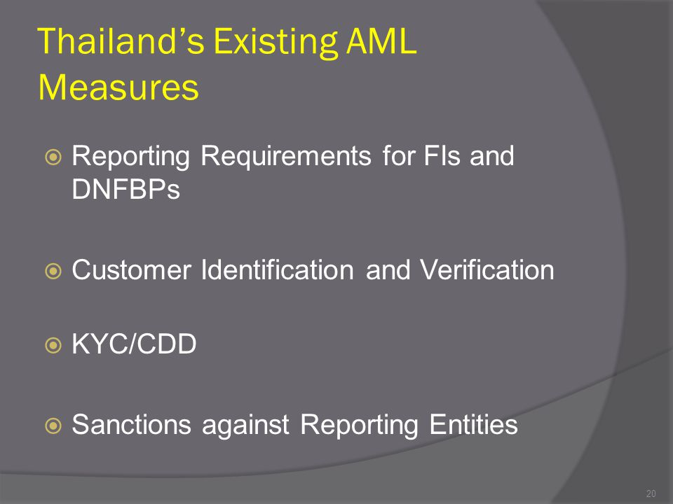 Thailand's Existing AML Measures