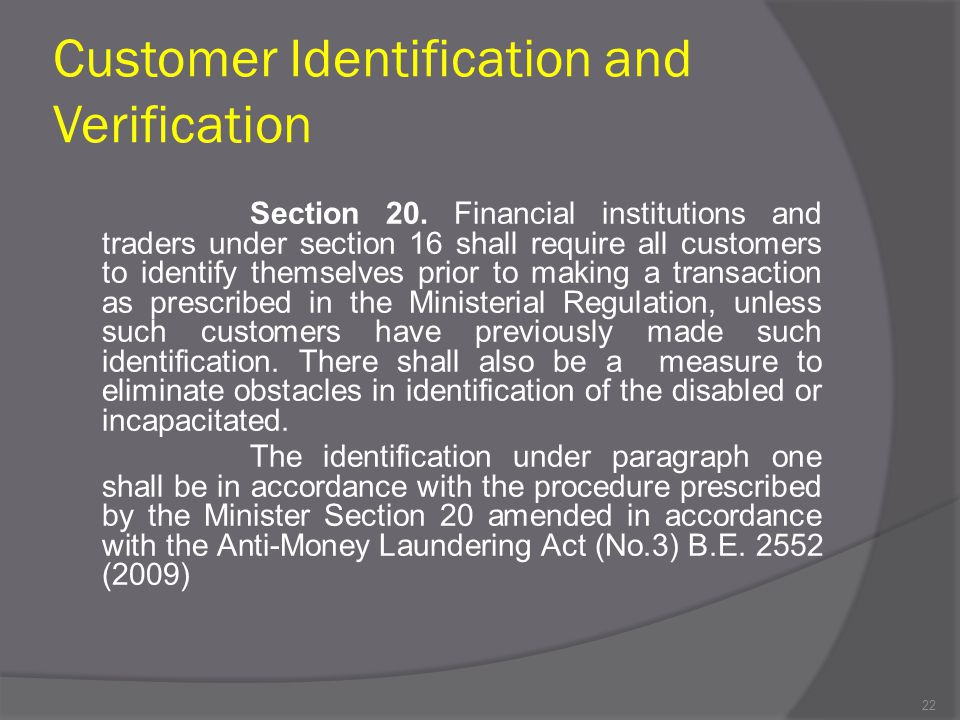 Customer Identification and Verification