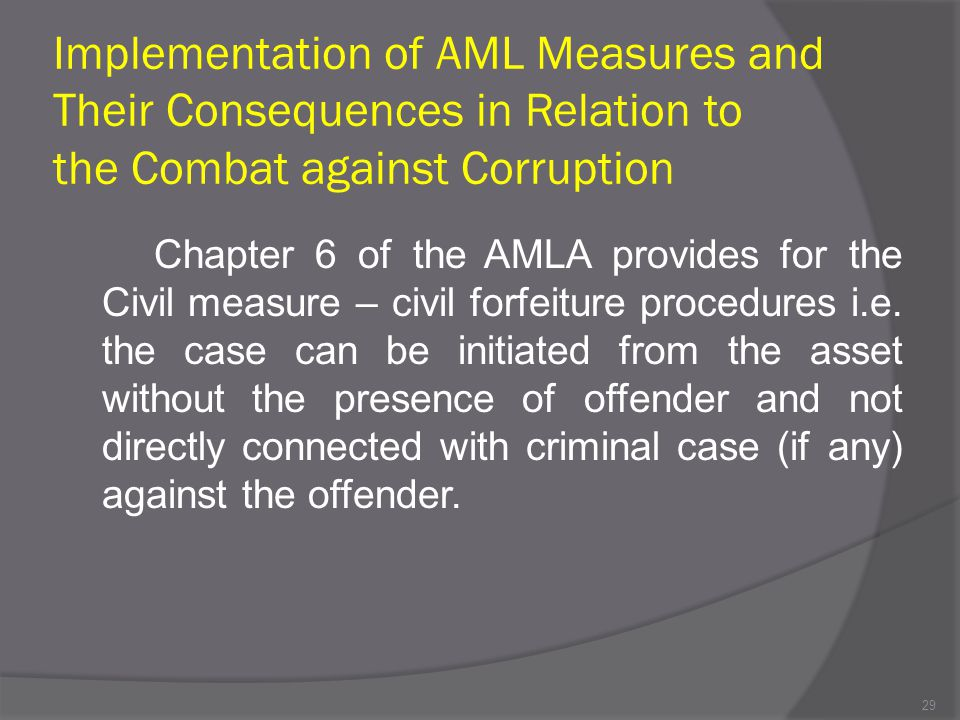 Implementation of AML Measures and Their Consequences in Relation to the Combat against Corruption