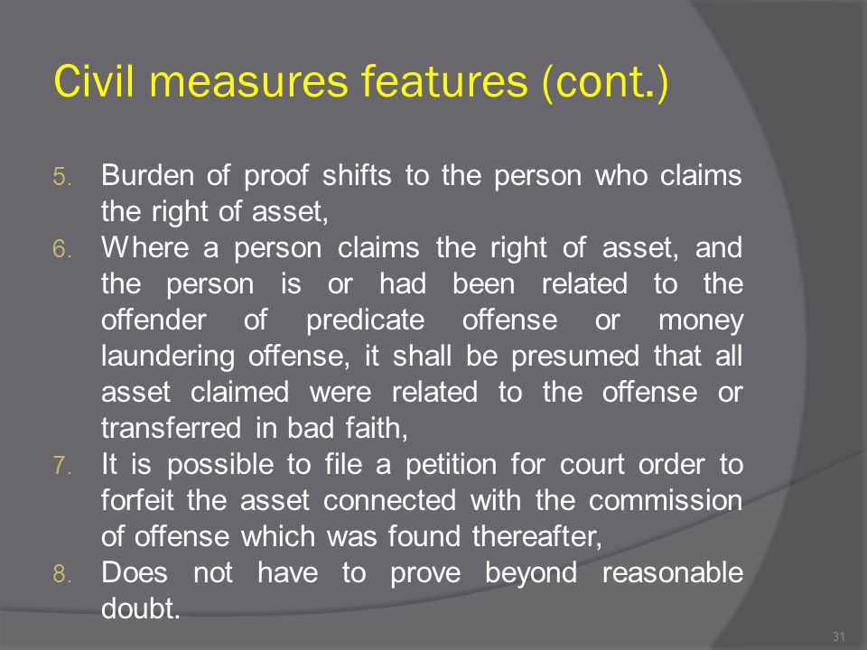Civil measures features (cont.)