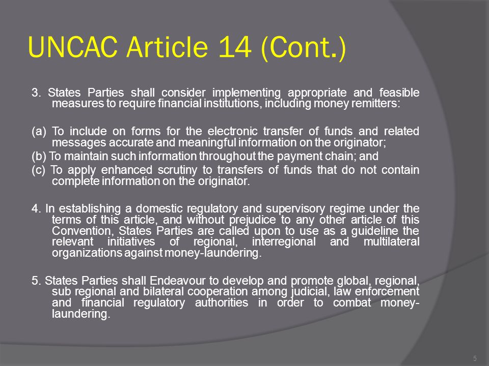 UNCAC Article 14 (Cont.)