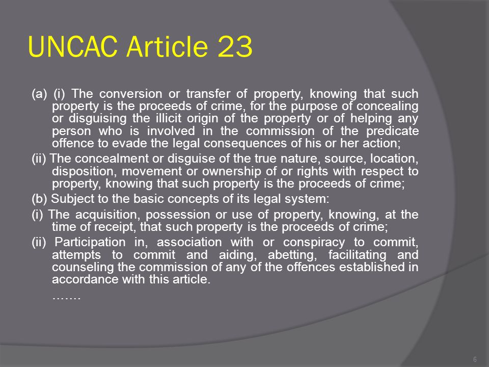 UNCAC Article 23