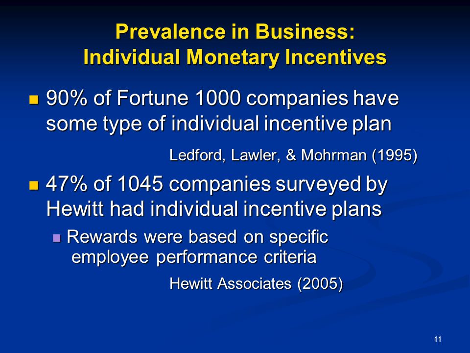 Prevalence in Business: Individual Monetary Incentives