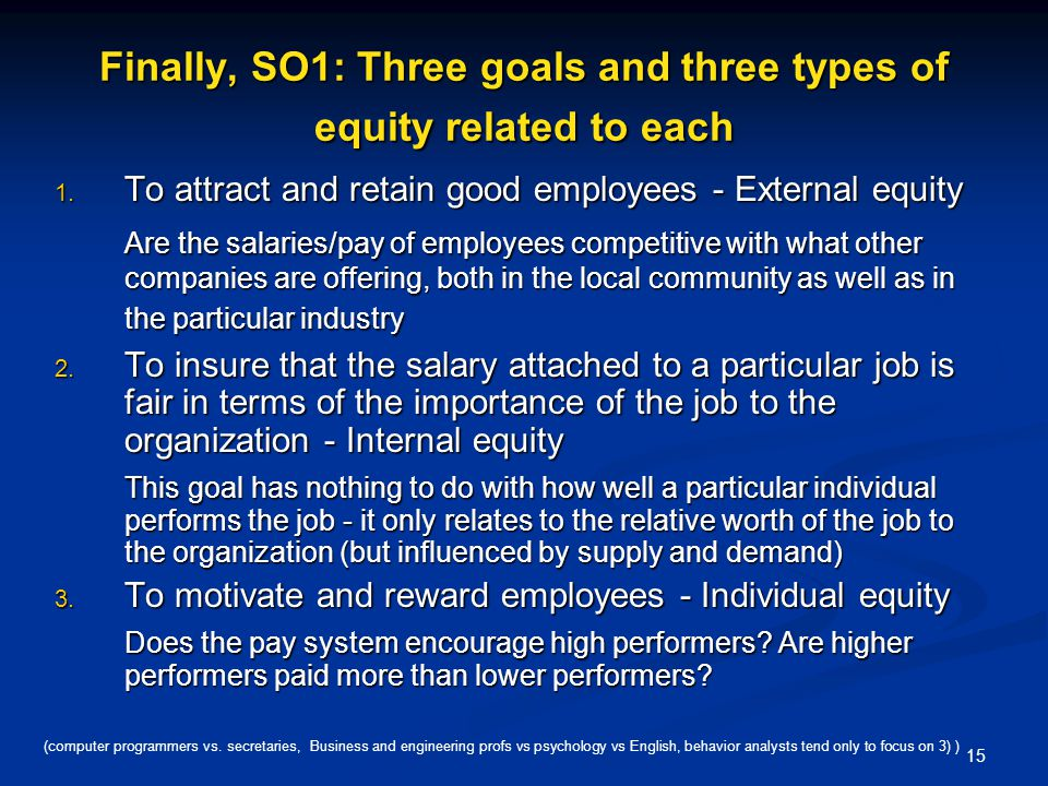 Finally, SO1: Three goals and three types of equity related to each