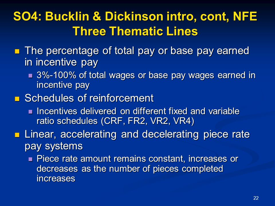 SO4: Bucklin & Dickinson intro, cont, NFE Three Thematic Lines