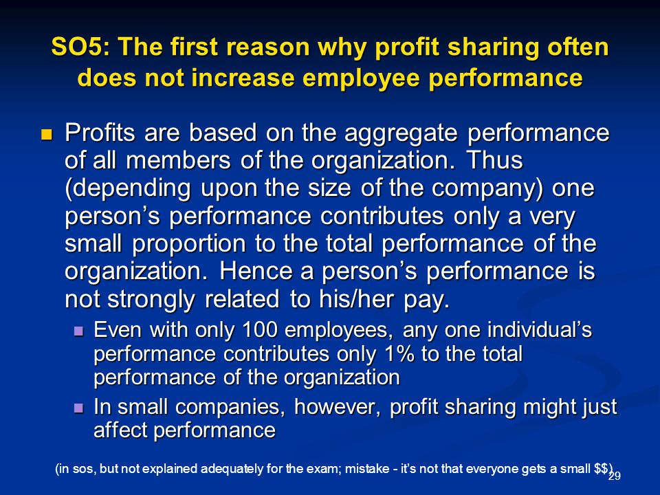 SO5: The first reason why profit sharing often does not increase employee performance