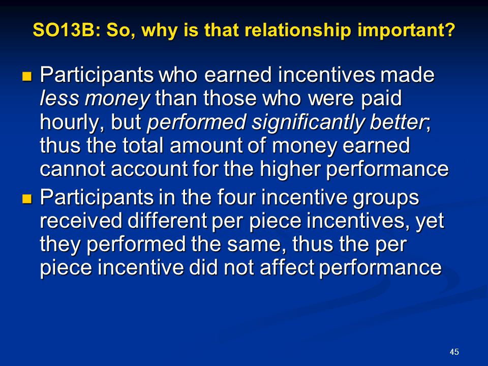 SO13B: So, why is that relationship important