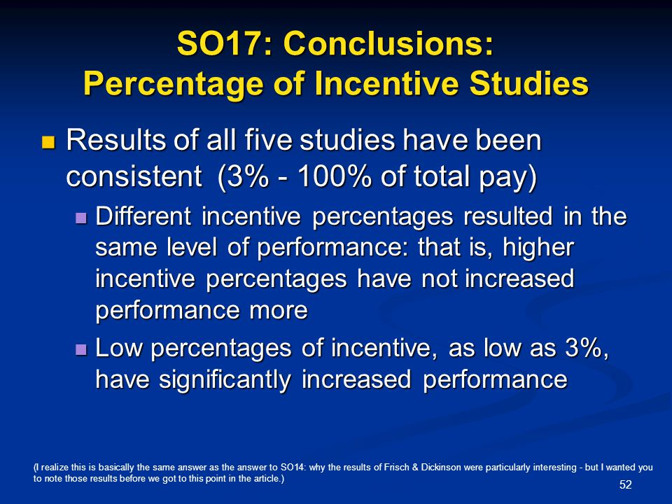 SO17: Conclusions: Percentage of Incentive Studies