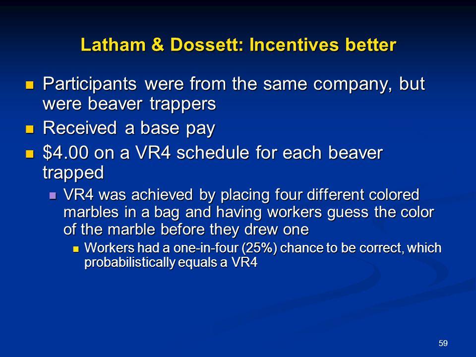 Latham & Dossett: Incentives better