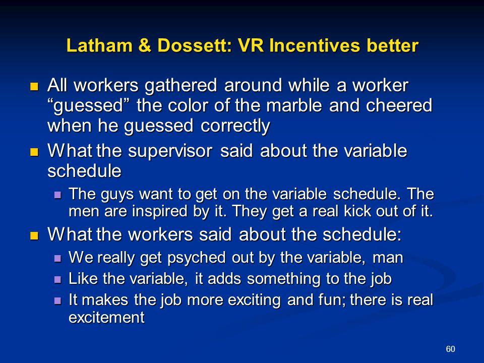 Latham & Dossett: VR Incentives better