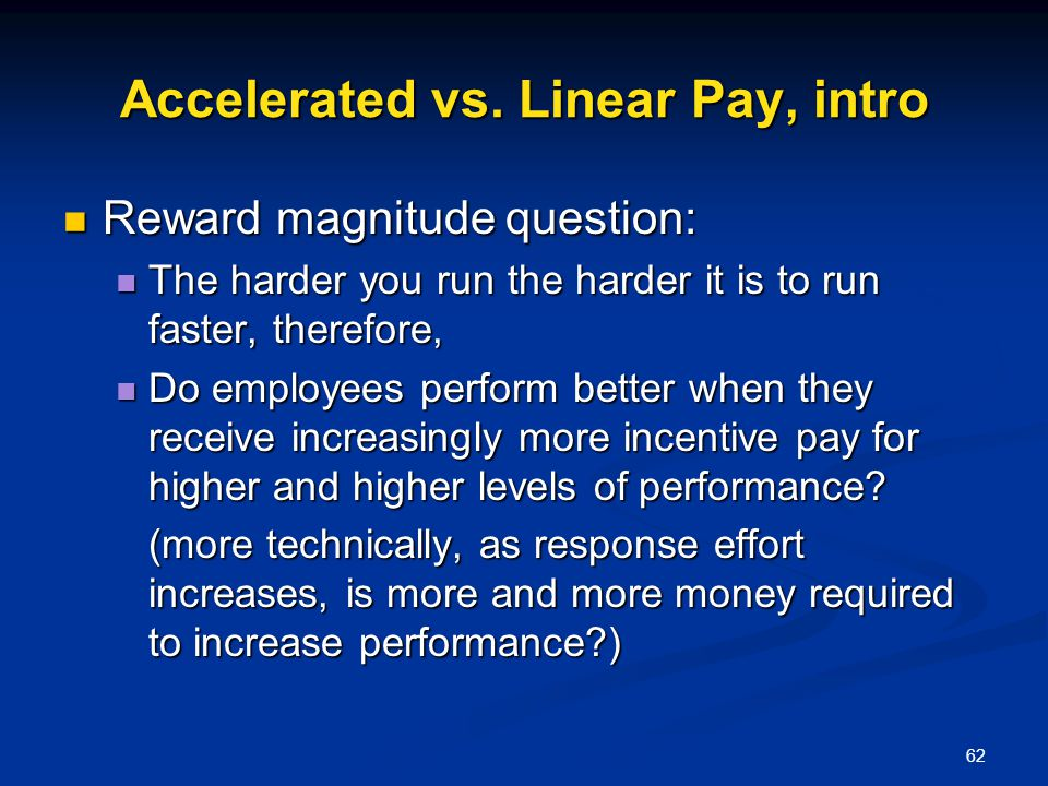 Accelerated vs. Linear Pay, intro